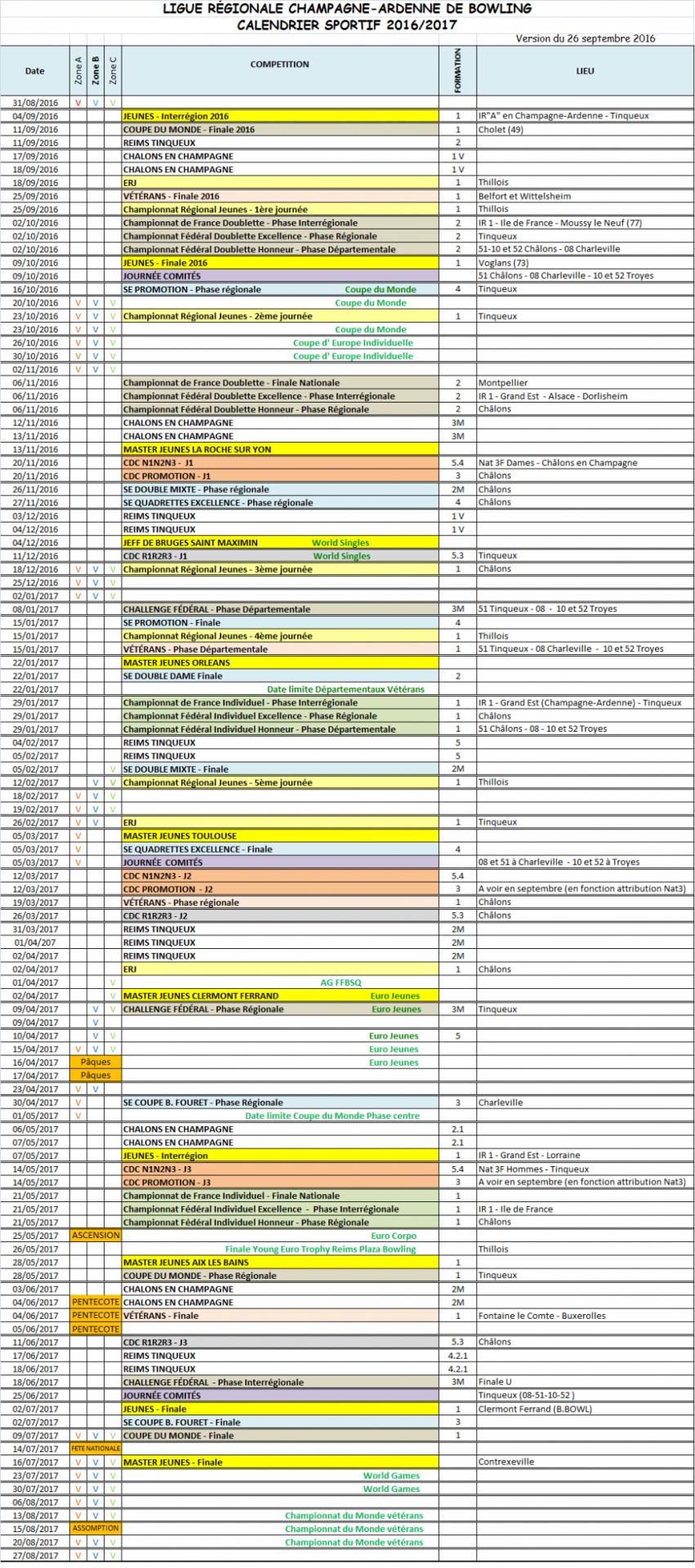 2016 2017 calendrier regional