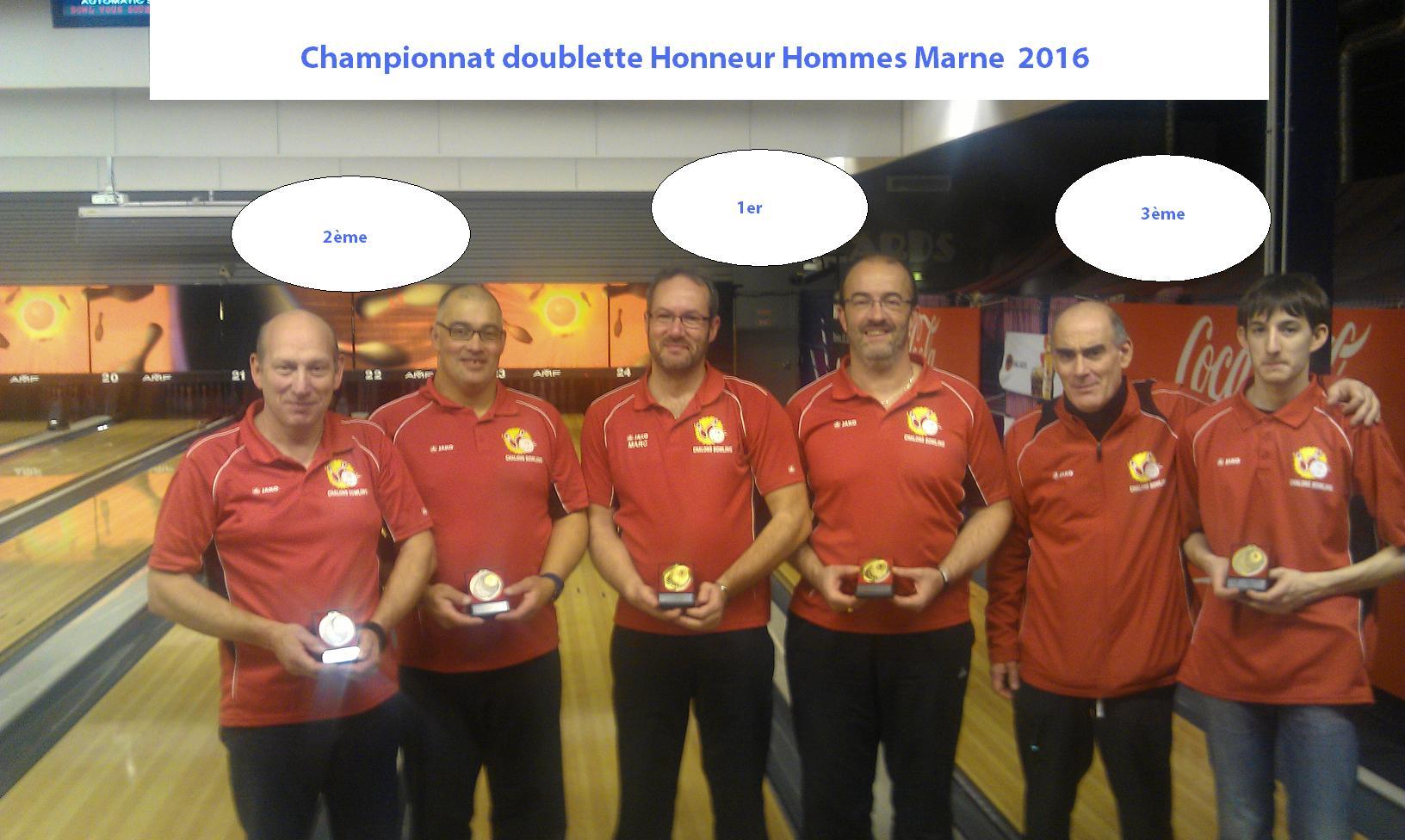 Championnat Fédéral Doublettes Honneur 2016